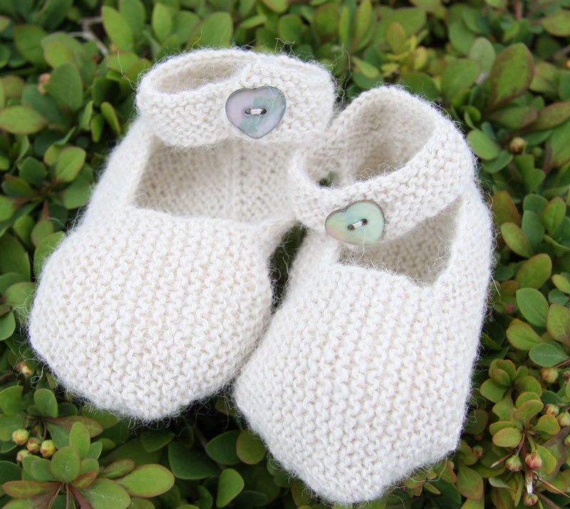 Babies booties made with Fowberry Yarn